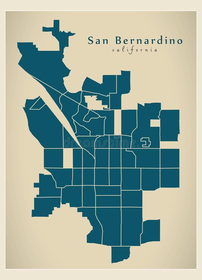 现代城市地图-美国的圣伯纳迪诺加利福尼亚市有邻里的 库存例证