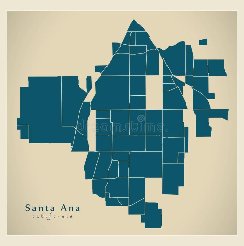 现代城市地图-美国的圣安娜加利福尼亚市有neig的 皇族释放例证