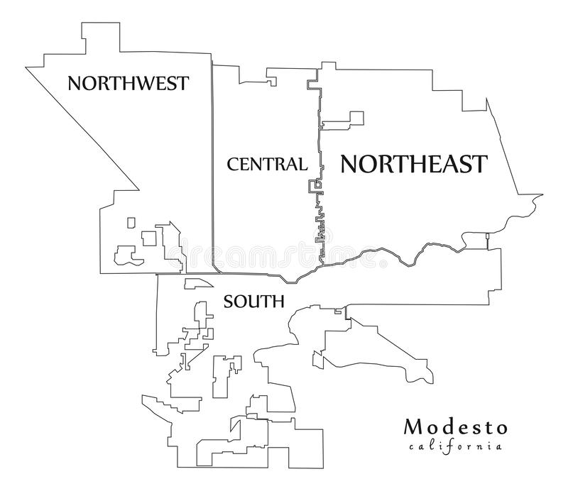 现代城市地图-美国的墨德斯托加利福尼亚市有邻里和标题概述地图的 向量例证