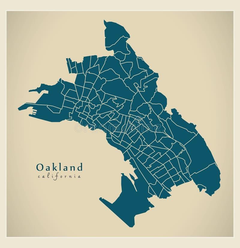 现代城市地图-美国的奥克兰加利福尼亚市有131 ne的 向量例证