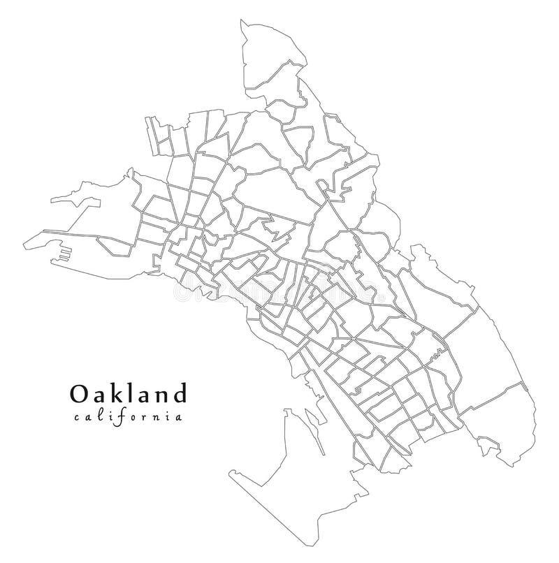 现代城市地图-美国的奥克兰加利福尼亚市有131 ne的 皇族释放例证