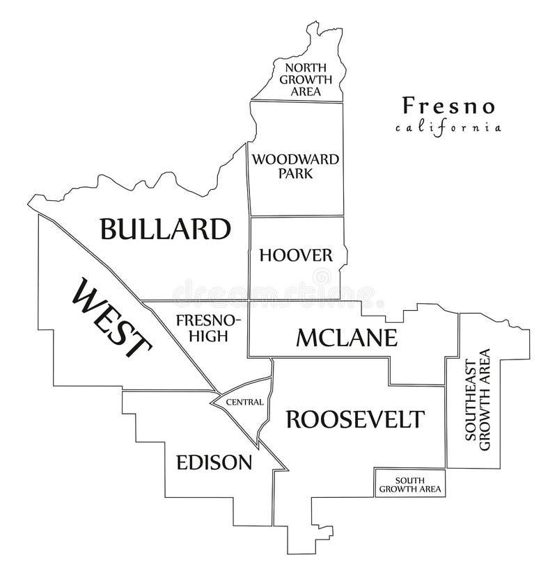 现代城市地图-美国的弗雷斯诺加利福尼亚市有neighbo的 皇族释放例证