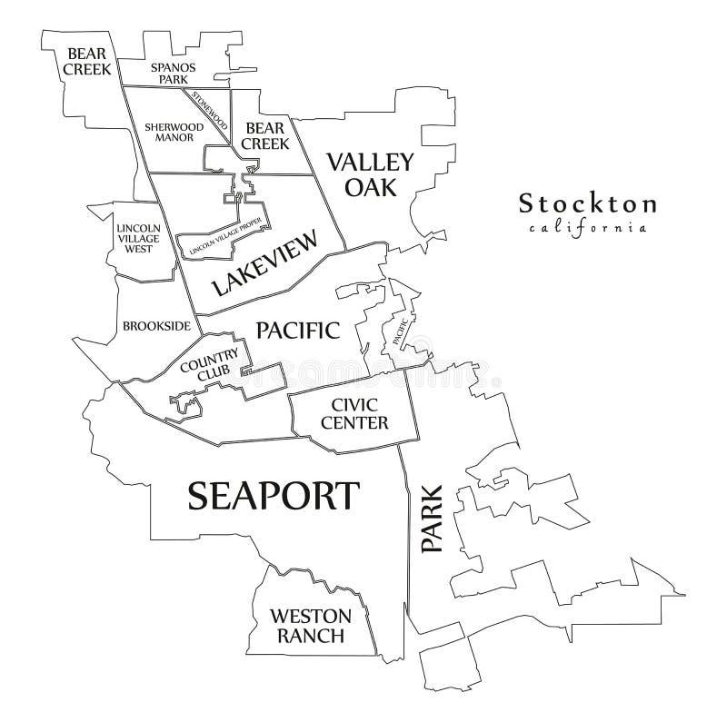 现代城市地图-美国的斯托克顿加利福尼亚市有马嘶声的 皇族释放例证