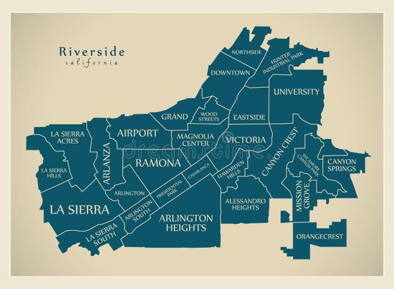 现代城市地图-美国的河沿加利福尼亚市有neig的 库存例证