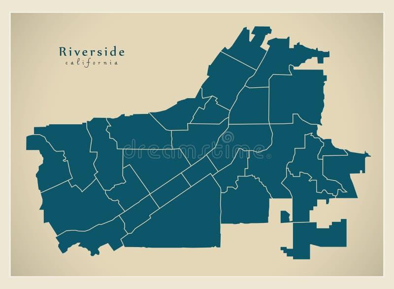 现代城市地图-美国的河沿加利福尼亚市有neig的 皇族释放例证
