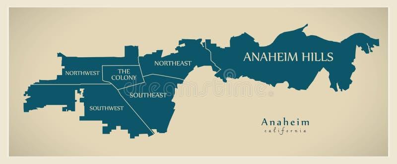 现代城市地图-美国的阿纳海姆加利福尼亚市有neighb的 皇族释放例证