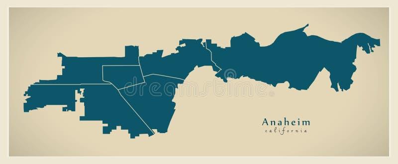现代城市地图-美国的阿纳海姆加利福尼亚市有neighb的 向量例证