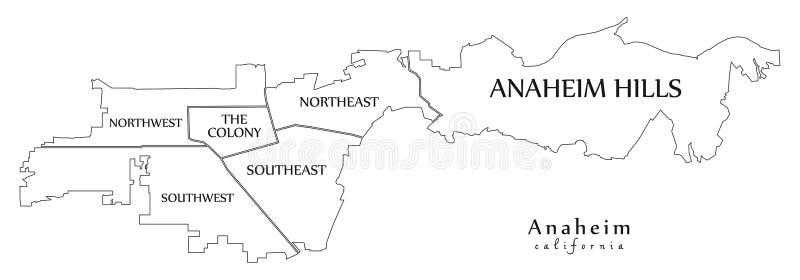 现代城市地图-美国的阿纳海姆加利福尼亚市有neighb的 库存例证