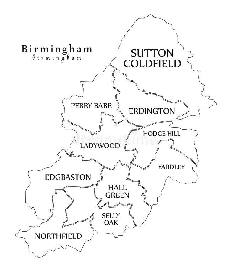 现代城市地图-英国的伯明翰市有自治市镇和t的 库存例证