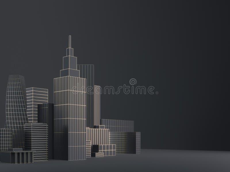 现代城市地平线、城市剪影、3d例证在黑色和金子设计 拷贝空间和黑表面无光泽的背景 向量例证