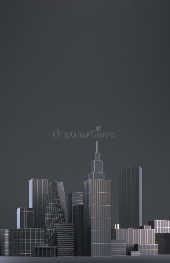 现代城市地平线、城市剪影、3d例证在黑色和金子设计 拷贝空间和黑表面无光泽的背景 库存例证