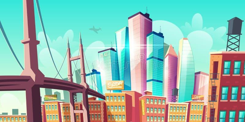 现代城市大都会成长,有桥梁的街道 库存例证