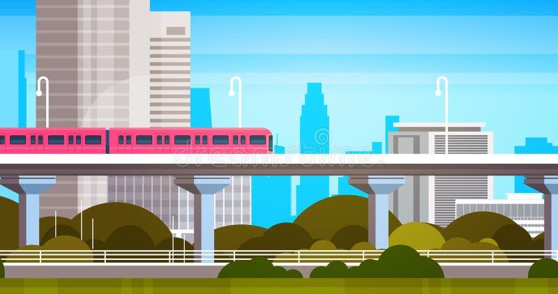 现代城市摩天大楼视图都市风景全景有地铁都市背景 向量例证