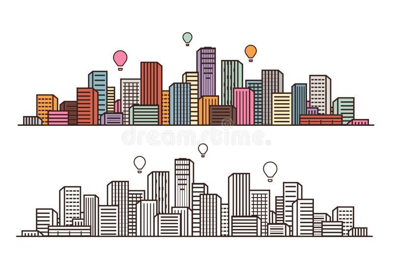 现代城市,看法 都市风景,都市风景,建筑概念 也corel凹道例证向量 向量例证