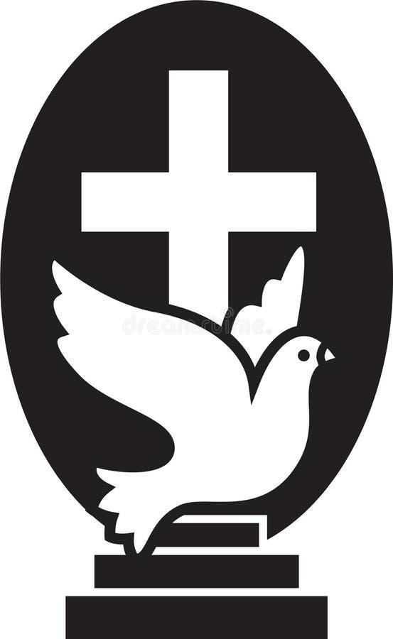 现代基督徒的教会商标有飞行鸠、十字架和台阶的 爱的,希望平的被隔绝的传染媒介象标志 库存例证