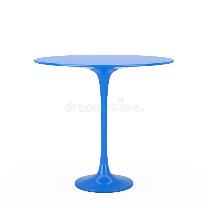 现代塑料蓝色圆桌 3d翻译 库存例证