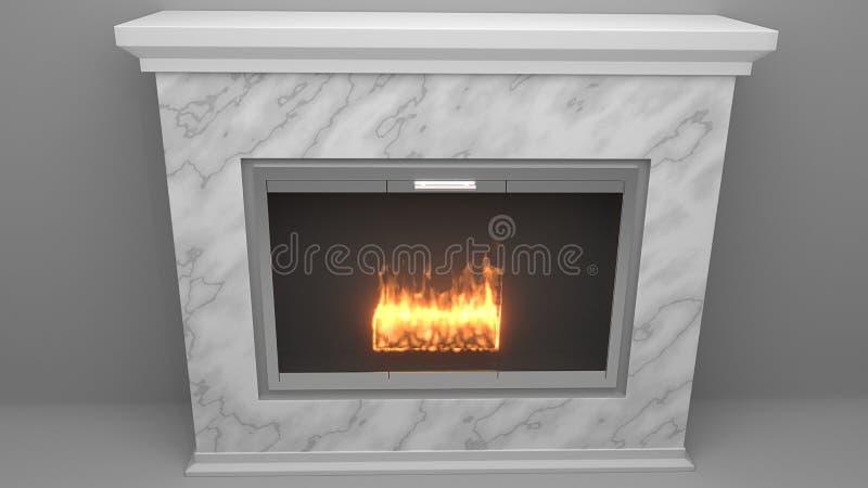 现代壁炉由与火焰的大理石制成 向量例证