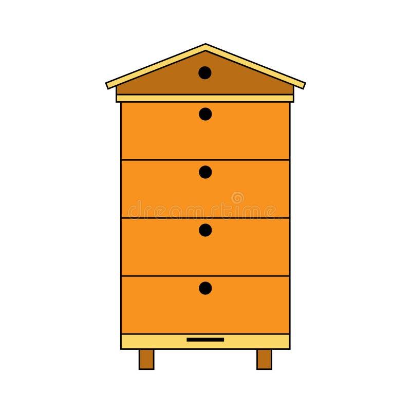 现代多蜂箱象 颜色蜂蜂房在白色网络设计的传染媒介象隔绝的 向量例证