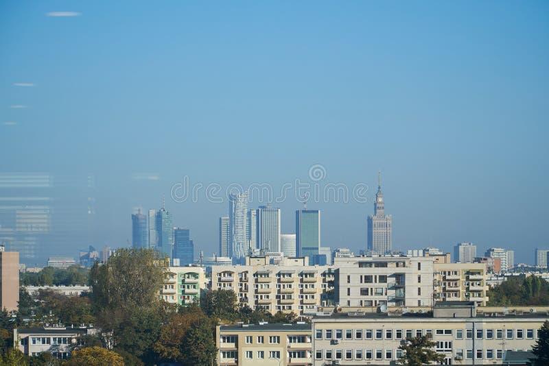 现代大厦全景在华沙,波兰 免版税库存照片