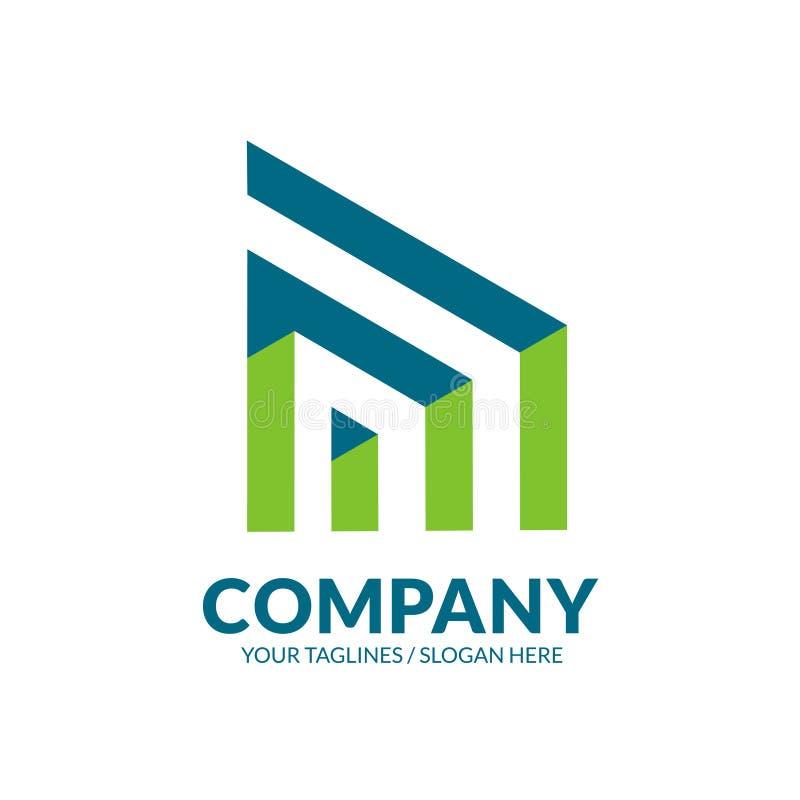 现代大厦和建筑商标 向量例证