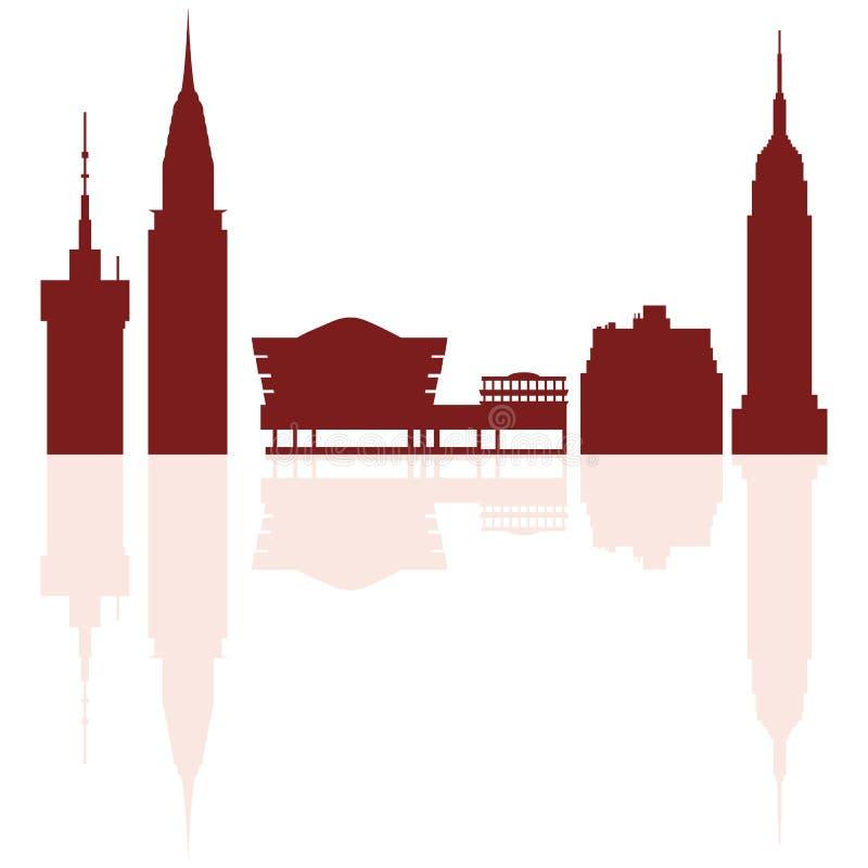现代大厦和所罗门R剪影  Guggenheim博物馆 向量例证