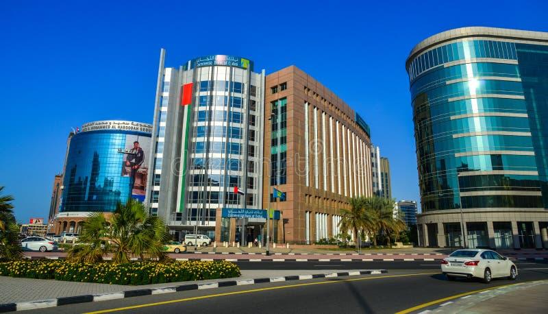 现代大厦在迪拜,阿拉伯联合酋长国 库存图片