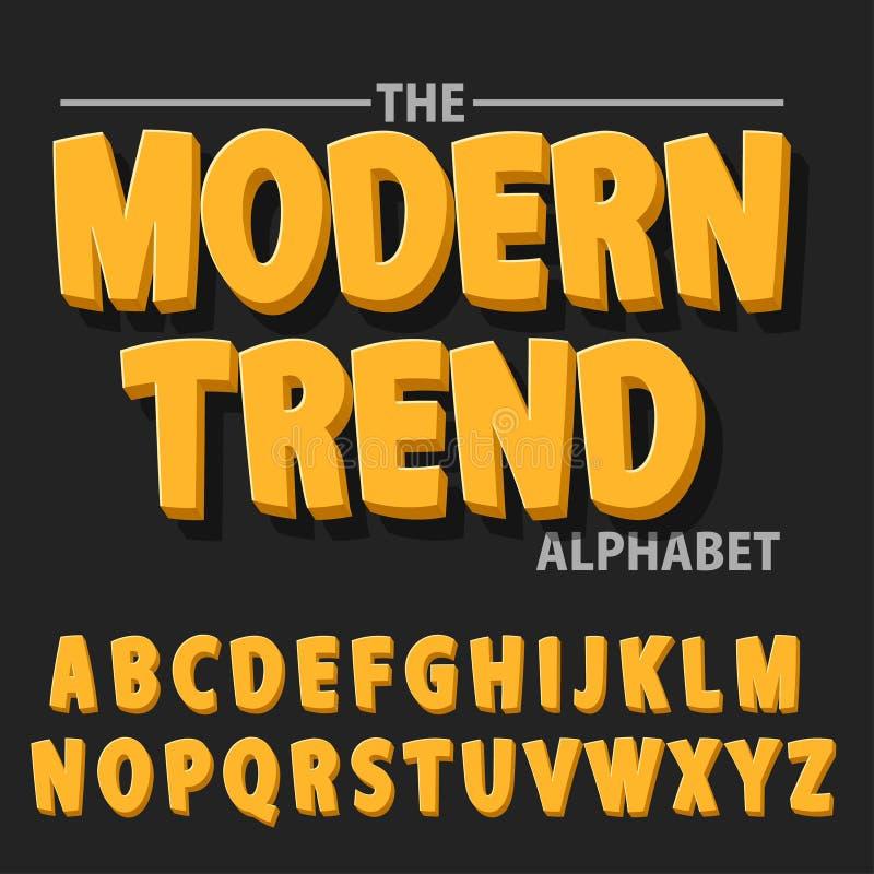 现代大胆的字体和字母表,与阴影的字体 皇族释放例证