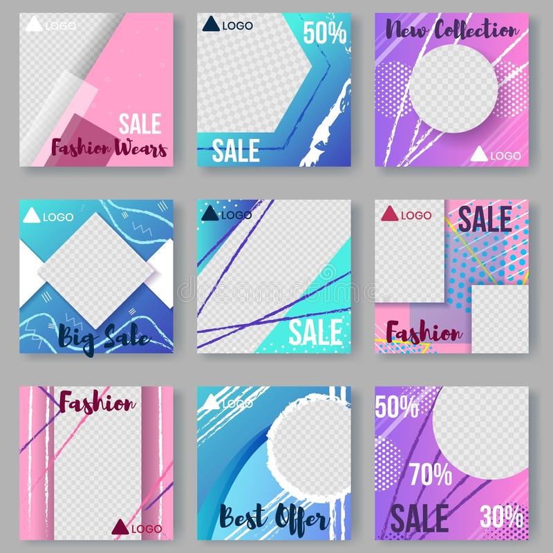 现代套抽象海报,盖子,卡片 向量例证