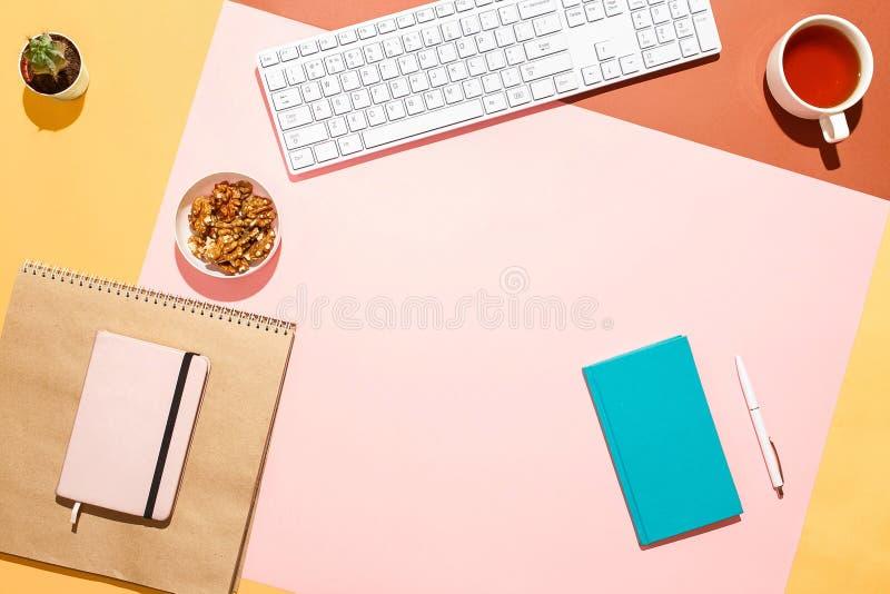 现代女性家庭工作区 平的位置结构的键盘、仙人掌、日志与笔和茶在五颜六色的书桌上 库存照片