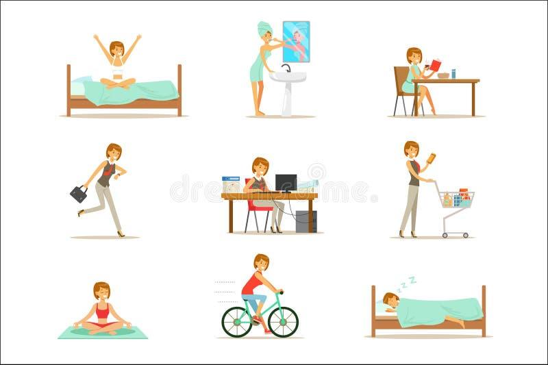 现代妇女每日惯例从早晨到动画片例证系列与愉快的字符的 库存例证