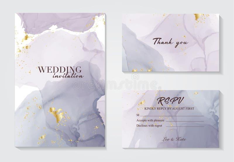 现代婚姻的邀请酒精墨水设计 在水彩墨水飞溅墨水紫罗兰灰色颜色设置的传染媒介 紫色丙烯酸酯 向量例证