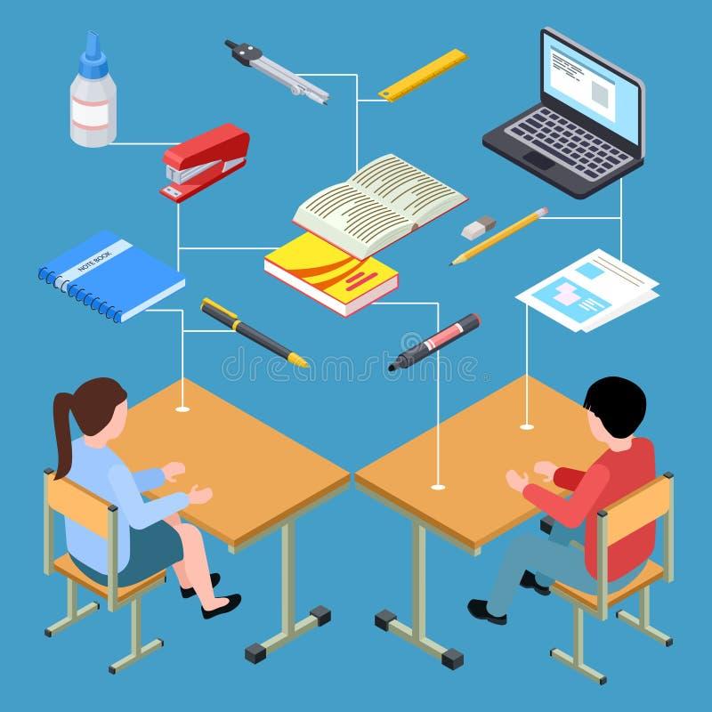 现代学生等量传染媒介设计工作场所  库存例证