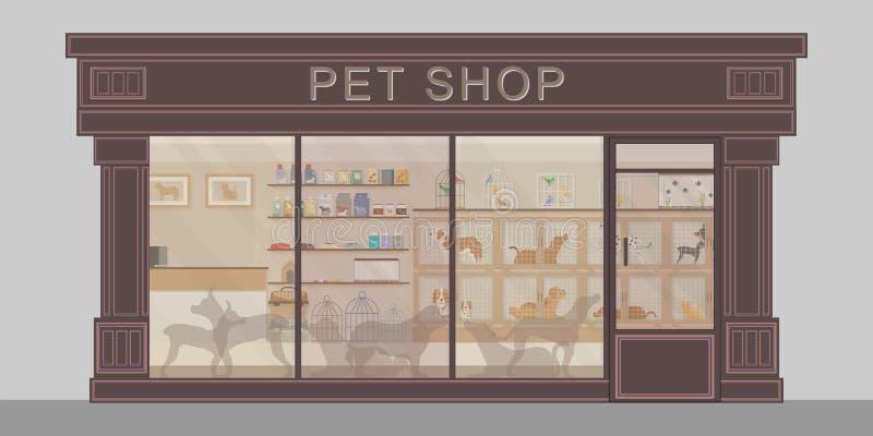 现代宠物店外部与动物,动物医疗保健概念性传染媒介例证笼子的  皇族释放例证