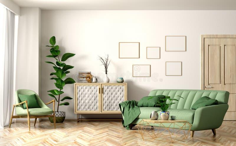 现代客厅内部有绿色沙发3d翻译的 皇族释放例证