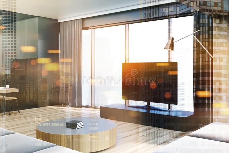 现代客厅内部,被定调子的电视机 库存例证