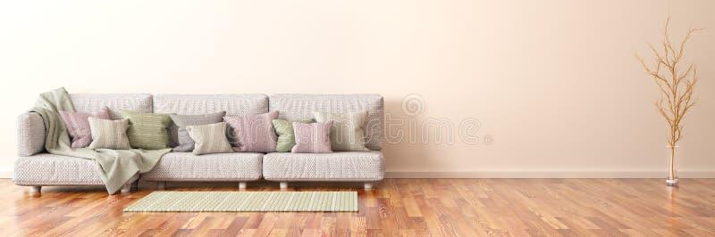 现代客厅室内设计有沙发的, 3d翻译 皇族释放例证