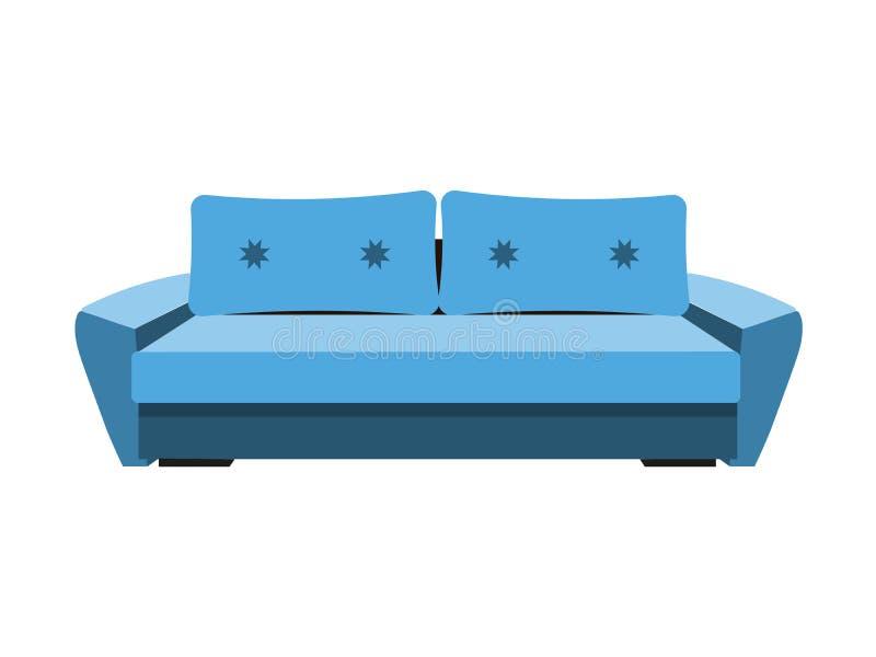 现代客厅招待会或休息室唯一对象现实设计传染媒介例证的蓝色豪华沙发 库存例证