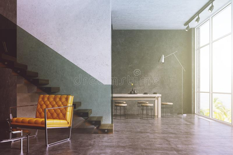 现代客厅,黄色扶手椅子,被定调子的桌 库存例证