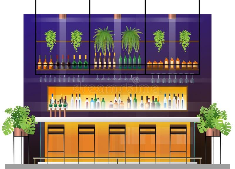 现代客栈内部场面有酒吧柜台的 向量例证