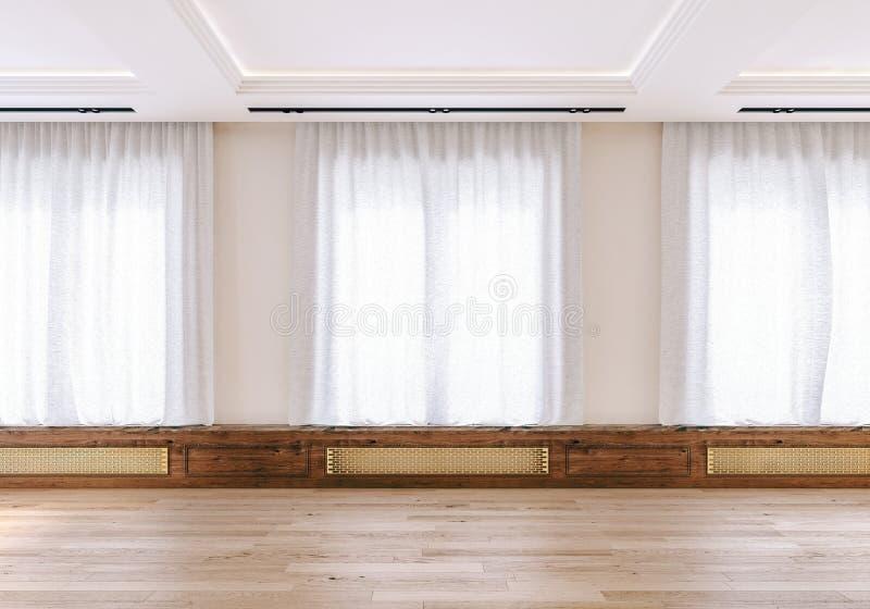 现代室内设计大露天场所客厅,公寓,顶楼,空,没有家具,模板,背景 向量例证