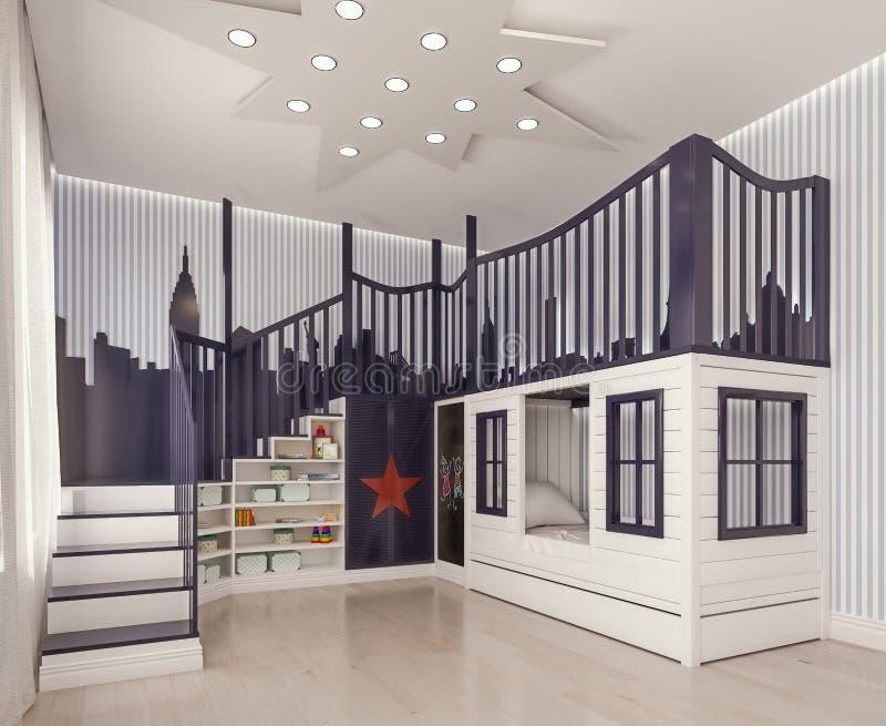 现代室内设计孩子卧室,儿童居室,游戏室,与双人床和台阶象城堡 皇族释放例证