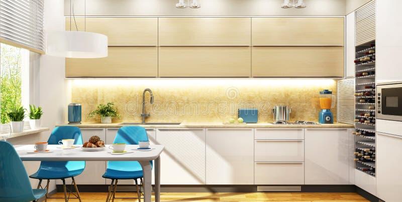 现代室内设计美丽的厨房 库存例证
