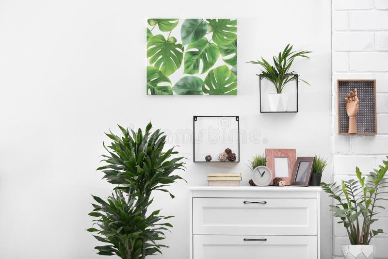现代室内部与异乎寻常的室内植物 免版税库存照片