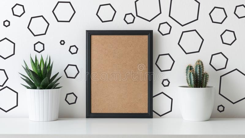 现代室装饰 各种各样的仙人掌和多汁植物用不同的罐 与一个黑框架的大模型 库存照片