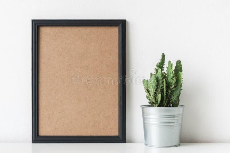 现代室装饰 白花罐的仙人掌植物 大模型海报 图库摄影