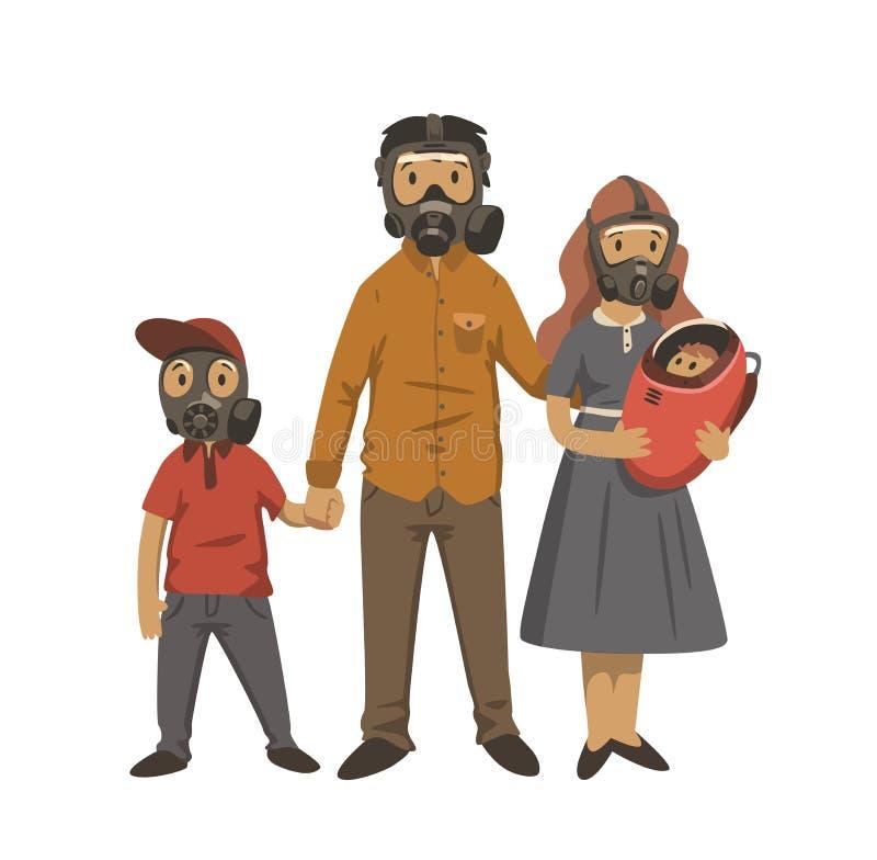 现代家庭、孩子和父母防毒面具的 环境问题,大气污染 平的传染媒介例证 皇族释放例证