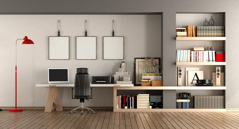 现代家庭工作场所 向量例证
