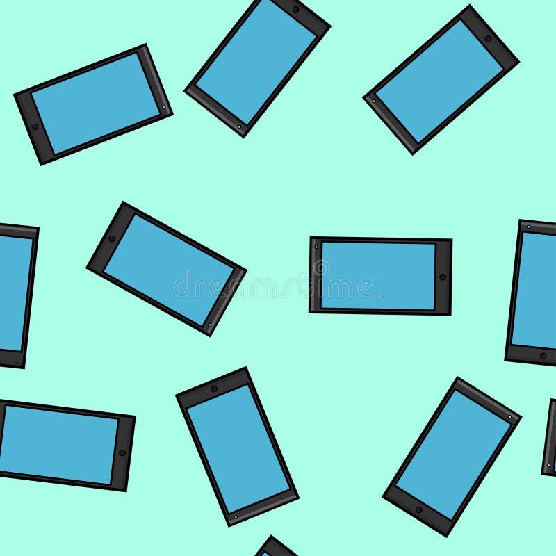 现代小配件数字手机智能手机的无缝的样式纹理新在蓝色隔绝的平的样式设备 皇族释放例证