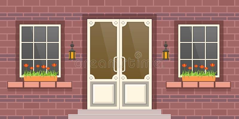现代居民住房,房地产门面  城市大厦 皇族释放例证