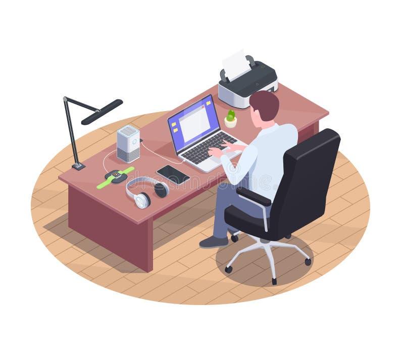 现代工作区等量构成 向量例证